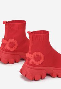 Born2be - Czerwone Sneakersy Amathime. Wysokość cholewki: za kostkę. Kolor: czerwony. Materiał: materiał. Szerokość cholewki: normalna