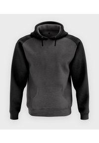 MegaKoszulki - Męska bluza dwukolorowa (bez nadruku, gładka) - grafitowo-czarna. Kolor: czarny, wielokolorowy, szary. Wzór: gładki