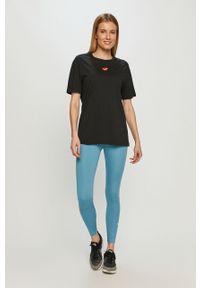 Nike - Legginsy. Stan: podwyższony. Kolor: niebieski. Materiał: tkanina, dzianina, poliester, elastan, włókno, skóra. Wzór: gładki #4