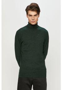 Zielony sweter Lee długi, casualowy, z golfem, na co dzień