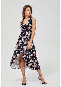 MOODO - Sukienka z wiązaniem na boku. Materiał: elastan, poliester