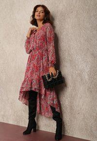 Renee - Czerwona Sukienka Maeranthe. Kolor: czerwony. Materiał: tkanina, materiał. Długość rękawa: długi rękaw. Wzór: paisley