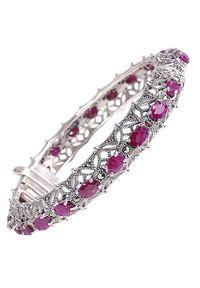 Braccatta - VENUS Srebrna bransoletka markazyty rubiny ażur bangle 10 ct.. Materiał: srebrne. Kolor: srebrny. Wzór: ażurowy. Kamień szlachetny: rubin, markazyt