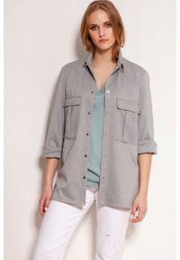 Lanti - Koszulowa Bluza z Dużymi Kieszeniami - Szara. Kolor: szary. Materiał: wiskoza, poliester, nylon