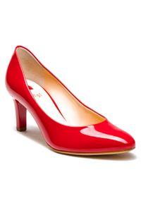 Czerwone półbuty HÖGL na średnim obcasie, eleganckie, na obcasie, z cholewką