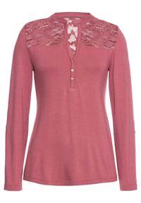 Fioletowa bluzka bonprix z kołnierzem typu henley