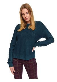 Turkusowy sweter TOP SECRET na zimę, w kolorowe wzory, z okrągłym kołnierzem, długi