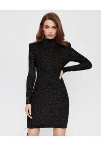 Czarna sukienka mini Balmain klasyczna, z aplikacjami