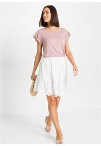 Spódnica z ażurowym haftem bonprix biel wełny. Kolor: biały. Materiał: wełna. Wzór: haft, ażurowy