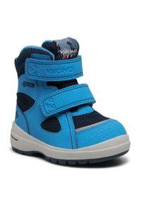 Niebieskie buty zimowe Viking na spacer, z cholewką, z aplikacjami