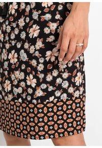 Sukienka z nadrukiem, długi rękaw bonprix czarno-brązowo-niebieski z nadrukiem. Kolor: czarny. Materiał: tkanina. Długość rękawa: długi rękaw. Wzór: nadruk. Styl: boho #2