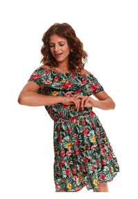 Czarna sukienka TOP SECRET z odkrytymi ramionami, na lato, z nadrukiem, mini