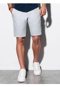Ombre Clothing - Krótkie spodenki męskie casual W243 - jasnoszare - XXL. Okazja: na co dzień. Kolor: szary. Materiał: bawełna, elastan. Długość: krótkie. Sezon: lato. Styl: casual #4