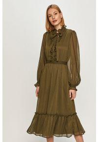 Vila - Sukienka. Kolor: zielony. Długość rękawa: długi rękaw. Typ sukienki: rozkloszowane