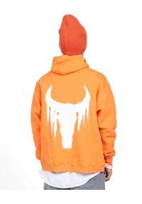 ROBERT KUPISZ - Pomarańczowa bluza Now Bull. Kolor: pomarańczowy. Materiał: dresówka, materiał. Długość rękawa: długi rękaw. Długość: długie. Wzór: nadruk