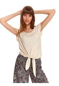 Beżowy t-shirt TOP SECRET w kolorowe wzory, krótki, na co dzień