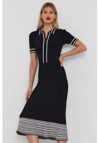 Karl Lagerfeld - Sukienka. Kolor: czarny. Materiał: dzianina. Długość rękawa: krótki rękaw. Typ sukienki: rozkloszowane