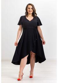 Czarna sukienka Moda Size Plus Iwanek na imprezę, na wiosnę