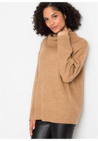 Brązowy sweter bonprix melanż, z golfem