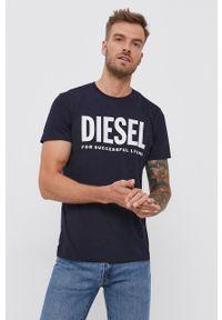 Diesel - T-shirt bawełniany. Okazja: na co dzień. Kolor: niebieski. Materiał: bawełna. Wzór: nadruk. Styl: casual