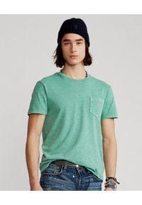 Ralph Lauren - RALPH LAUREN - Zielony t-shirt Custom Slim Fit. Typ kołnierza: polo. Kolor: zielony. Materiał: jersey, tkanina, bawełna. Wzór: haft. Styl: klasyczny