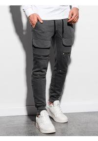 Ombre Clothing - Spodnie męskie dresowe joggery P901 - grafitowe - XXL. Kolor: szary. Materiał: dresówka #3