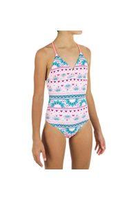 OLAIAN - Kostium Kąpielowy Jednoczęściowy Himae 500 Pagi Dla Dzieci. Kolor: różowy. Materiał: poliester, materiał, elastan