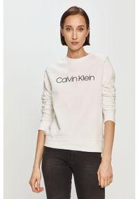Biała bluza Calvin Klein bez kaptura, z nadrukiem, casualowa