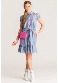 Niebieska sukienka Emporio Armani mini, z haftami, z krótkim rękawem