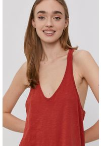Protest - Sukienka. Kolor: czerwony. Materiał: dzianina. Długość rękawa: na ramiączkach. Wzór: gładki. Typ sukienki: rozkloszowane #2