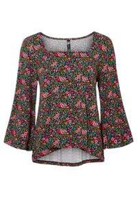 Shirt bonprix Shirt czarny w kwiaty. Kolor: czarny. Wzór: kwiaty