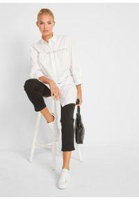 Długa bluzka bawełniana z koronkową wstawką bonprix biały. Kolor: biały. Materiał: bawełna, koronka. Długość: długie