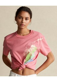 Ralph Lauren - RALPH LAUREN - Różowy t-shirt z graficznym nadrukiem. Typ kołnierza: polo. Kolor: wielokolorowy, fioletowy, różowy. Materiał: tkanina. Wzór: nadruk #1