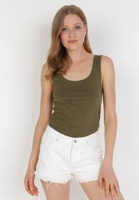 Born2be - Ciemnozielony Top Alethionis. Kolor: zielony. Materiał: bawełna, dzianina, jeans. Długość rękawa: na ramiączkach. Wzór: gładki
