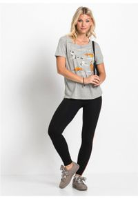 T-shirt z nadrukiem bonprix jasnoszary melanż. Kolor: szary. Długość rękawa: krótki rękaw. Długość: krótkie. Wzór: nadruk, melanż