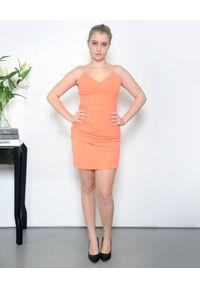 Pinko - PINKO - Neonowa sukienka na ramiączka Brunilde. Kolor: pomarańczowy. Materiał: jeans, len. Długość rękawa: na ramiączkach. Typ sukienki: sportowe. Styl: sportowy, klasyczny. Długość: mini