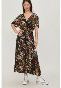 Czarna sukienka Answear Lab w kwiaty, rozkloszowana, na co dzień, midi