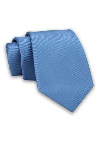 Niebieski Elegancki Klasyczny Męski Krawat -Angelo di Monti- 7 cm, Jednokolorowy, w Delikatne Prążki. Kolor: niebieski. Materiał: tkanina. Wzór: prążki. Styl: klasyczny, elegancki