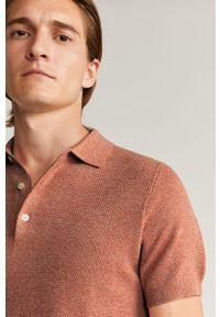 Pomarańczowa koszulka polo Mango Man krótka, polo