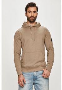 Calvin Klein Jeans - Bluza bawełniana. Okazja: na co dzień. Typ kołnierza: kaptur. Kolor: szary. Materiał: bawełna. Styl: casual