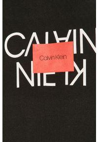 Czarna bluza nierozpinana Calvin Klein casualowa, z nadrukiem, na co dzień
