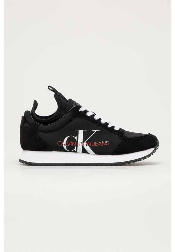 Czarne buty sportowe Calvin Klein Jeans z okrągłym noskiem, z cholewką