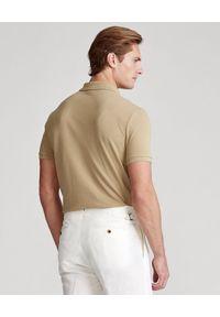 Ralph Lauren - RALPH LAUREN - Beżowa koszulka polo Mesh Classic Fit. Typ kołnierza: polo. Kolor: beżowy. Materiał: mesh. Wzór: haft #5