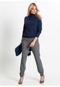 Niebieski sweter bonprix długi, z golfem, z długim rękawem