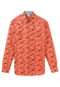 Pomarańczowa koszula bonprix z nadrukiem, z długim rękawem