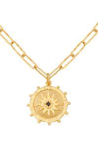 MOKOBELLE - Naszyjnik z rozetą Solaris. Materiał: pozłacane, złote, srebrne. Kolor: złoty. Wzór: aplikacja. Kamień szlachetny: spinel