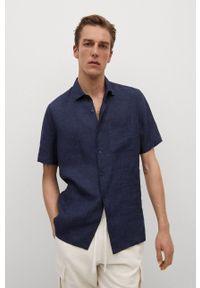 Mango Man - Koszula ANTS. Typ kołnierza: kołnierzyk klasyczny. Kolor: niebieski. Materiał: włókno, materiał. Długość rękawa: krótki rękaw. Długość: krótkie. Wzór: gładki. Styl: klasyczny