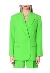 AGGI - Neonowo zielona marynarka Ramona. Kolor: zielony. Materiał: tkanina, jedwab. Sezon: lato. Styl: wizytowy