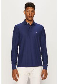 Niebieska koszulka z długim rękawem TOMMY HILFIGER krótka, casualowa, na co dzień