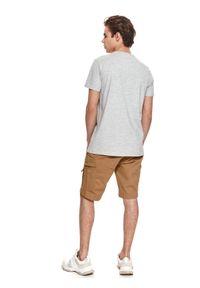 TOP SECRET - T-shirt z nadrukiem. Kolor: szary. Materiał: tkanina. Długość rękawa: krótki rękaw. Długość: krótkie. Wzór: nadruk. Sezon: lato. Styl: wakacyjny, klasyczny